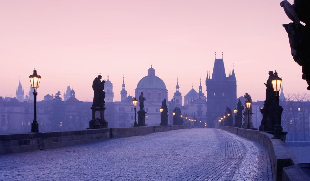 view of spires of the old town from charles bridge