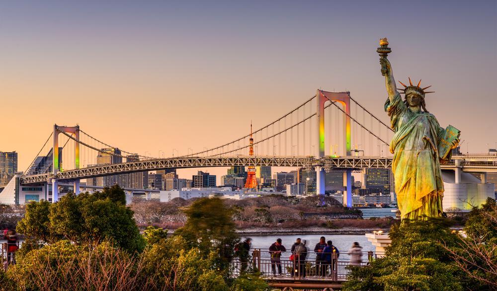 御台場-彩虹大橋與自由女神像