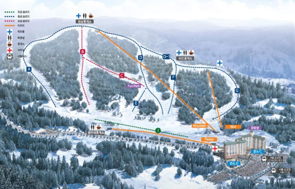 韓國-奧麗山莊滑雪度假村-滑雪道