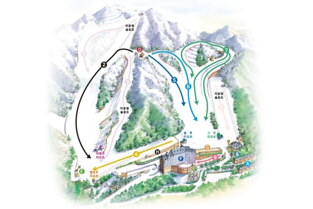 韓國-楊智PINE滑雪城-地圖