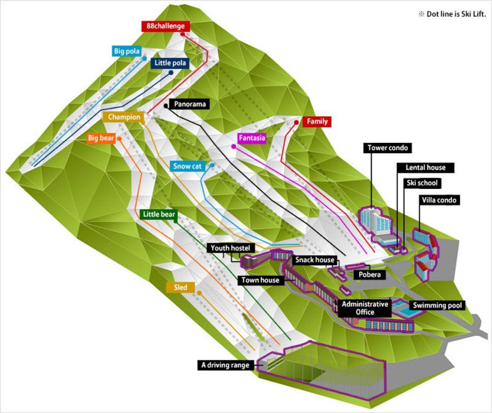韓國-熊城滑雪場-地圖