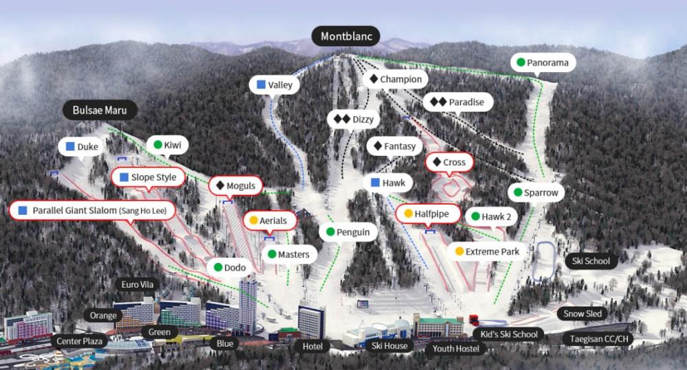 韓國-鳳凰平昌滑雪場-滑雪道