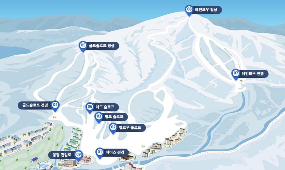 韓國-龍平滑雪度假村-滑雪道