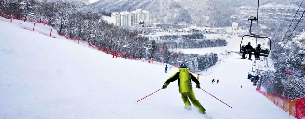 韓國-龍平滑雪度假村-滑雪道3