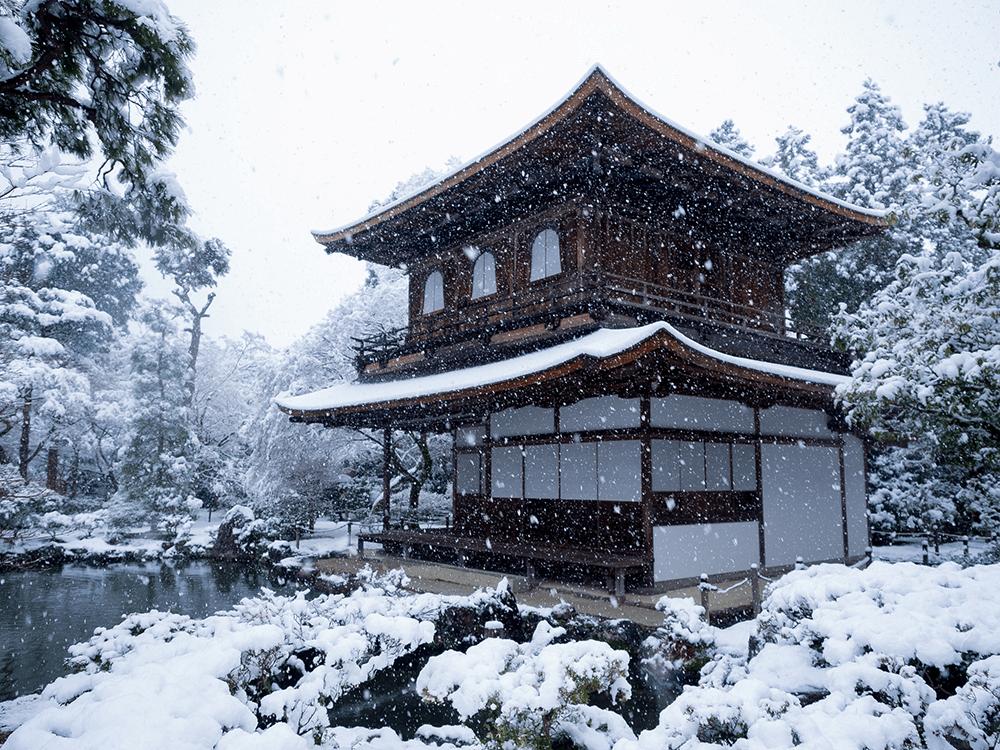 京都-賞雪-銀閣寺