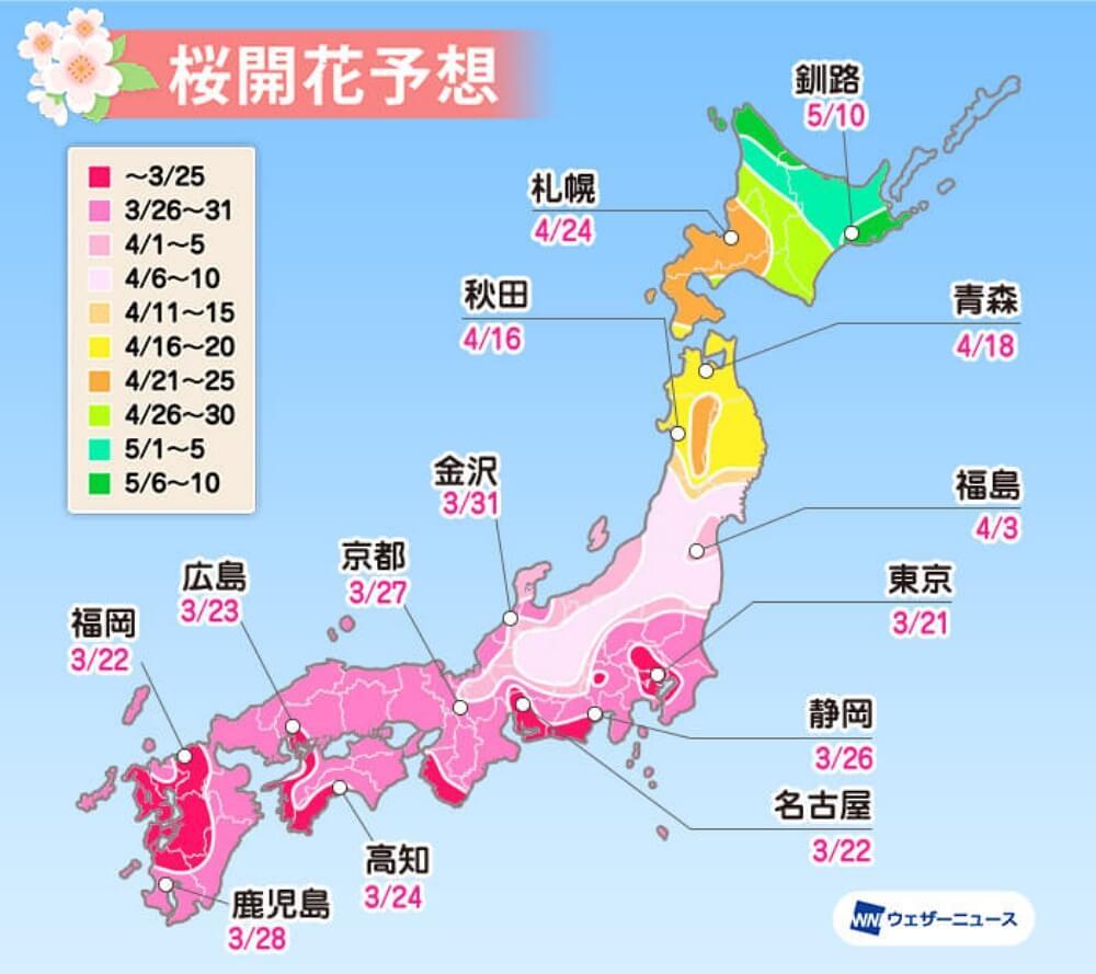 2020-東京櫻花-開花日期