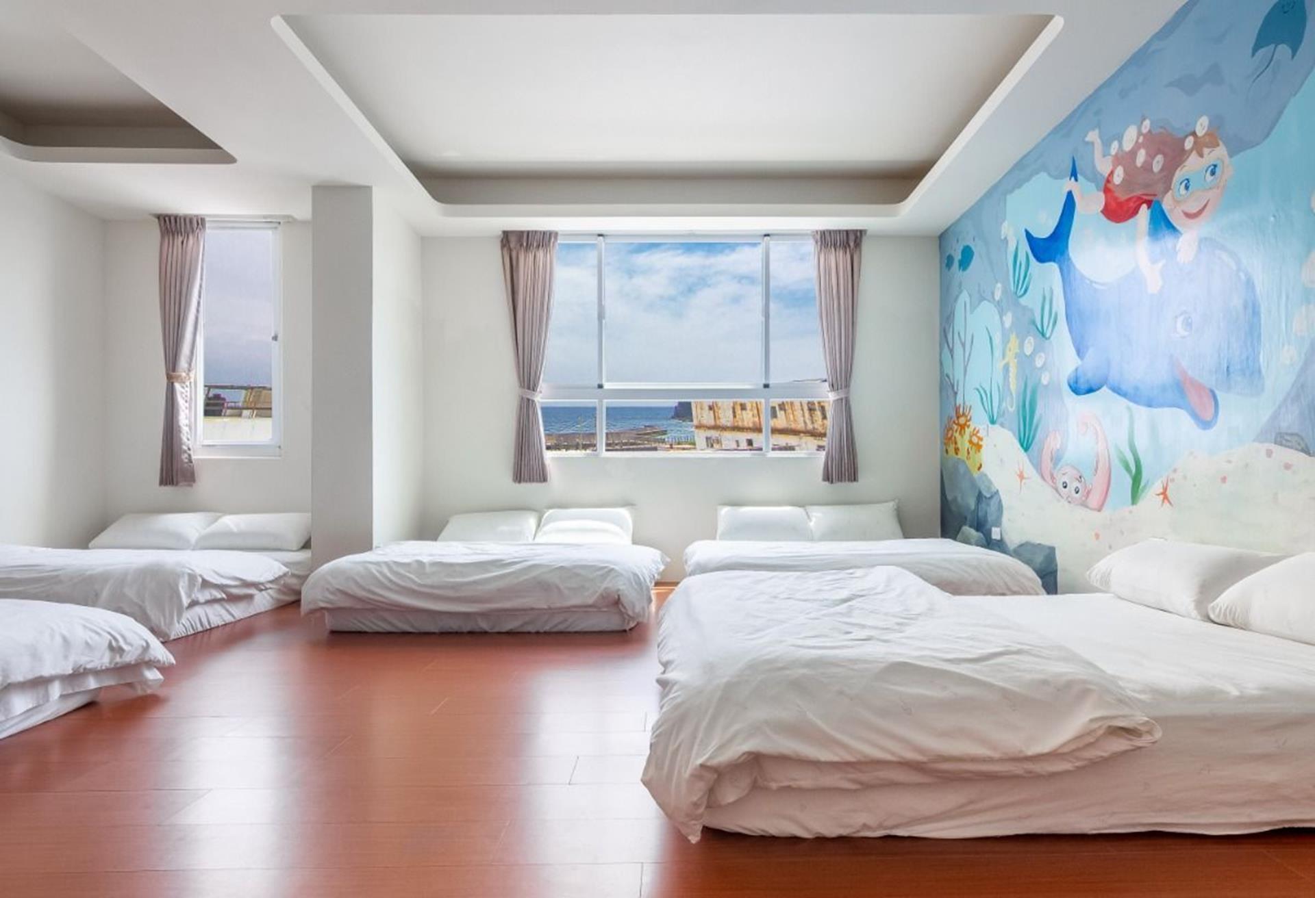 綠島海景民宿推薦 - 美人魚民宿能欣賞到大海的海景特大家庭房
